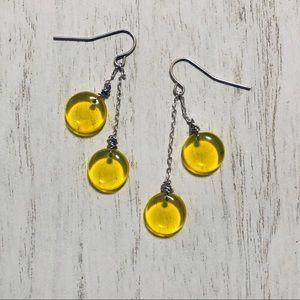 Sunshine Yellow Glass Double Dangle Earrings